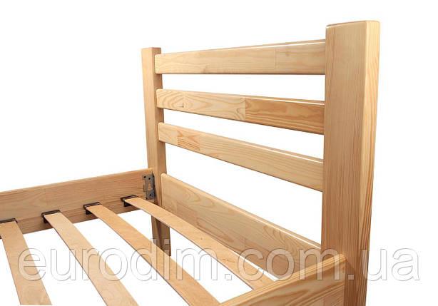 Кровать Класcик (1600*2000) щит сосна 1700 x 2090 x 800 натуральный, фото 2