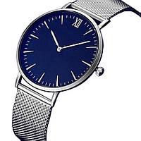 Часы женские кварцевые, ремешок метал, синий циферблат