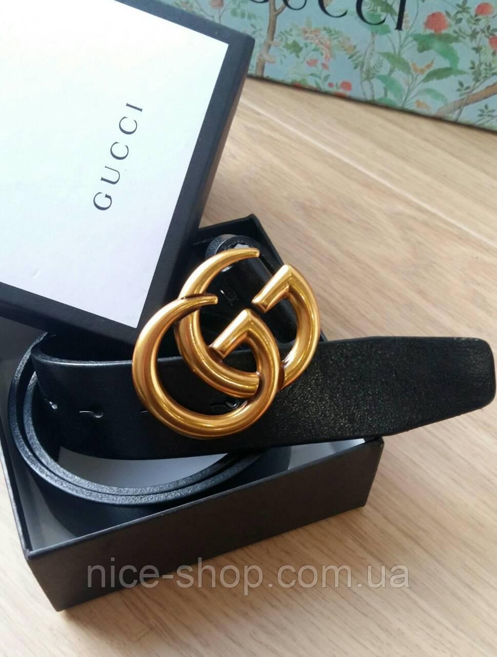 Ремень Gucci кожаный черный 3,7 см  в коробке