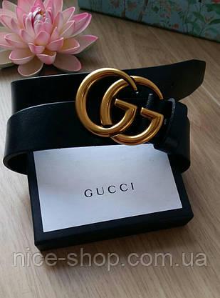 Ремень Gucci кожаный черный 3,7 см  в коробке, фото 2