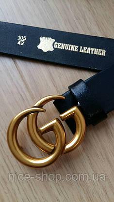 Ремень Gucci кожаный черный 3,7 см  в коробке, фото 3