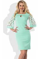 Платье ментолового цвета с рукавами пелеринами