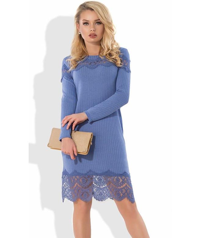 0b169a1c916 Стильное трикотажное платье с кружевной отделкой Д-434  продажа ...