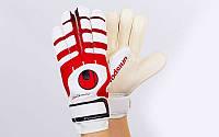Перчатки вратарские с защитными вставками на пальцы FB-842-2 UHLSPORT (PVC, р-р 8-10, красный-белый)