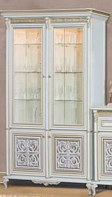 Витрина двухдверная вариант №1 ТОСКАНА-ЛУККА/ TOSCANA-LUCCA белый/золото (Скай ТМ)