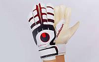 Перчатки вратарские с защитными вставками на пальцы UHLSPORT (PVC, р-р 8-10, черный-красный