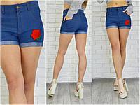Женские джинсовые шорты с розой