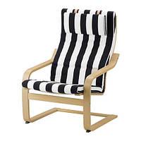 Кресло, березовый шпон, Стенли черный/белый IKEA POÄNG 591.813.10