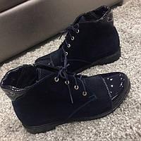 Женские ботинки натуральная замша с лаковым носком последний размер 37 весна-осень