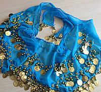 Платок для восточных танцев голубой