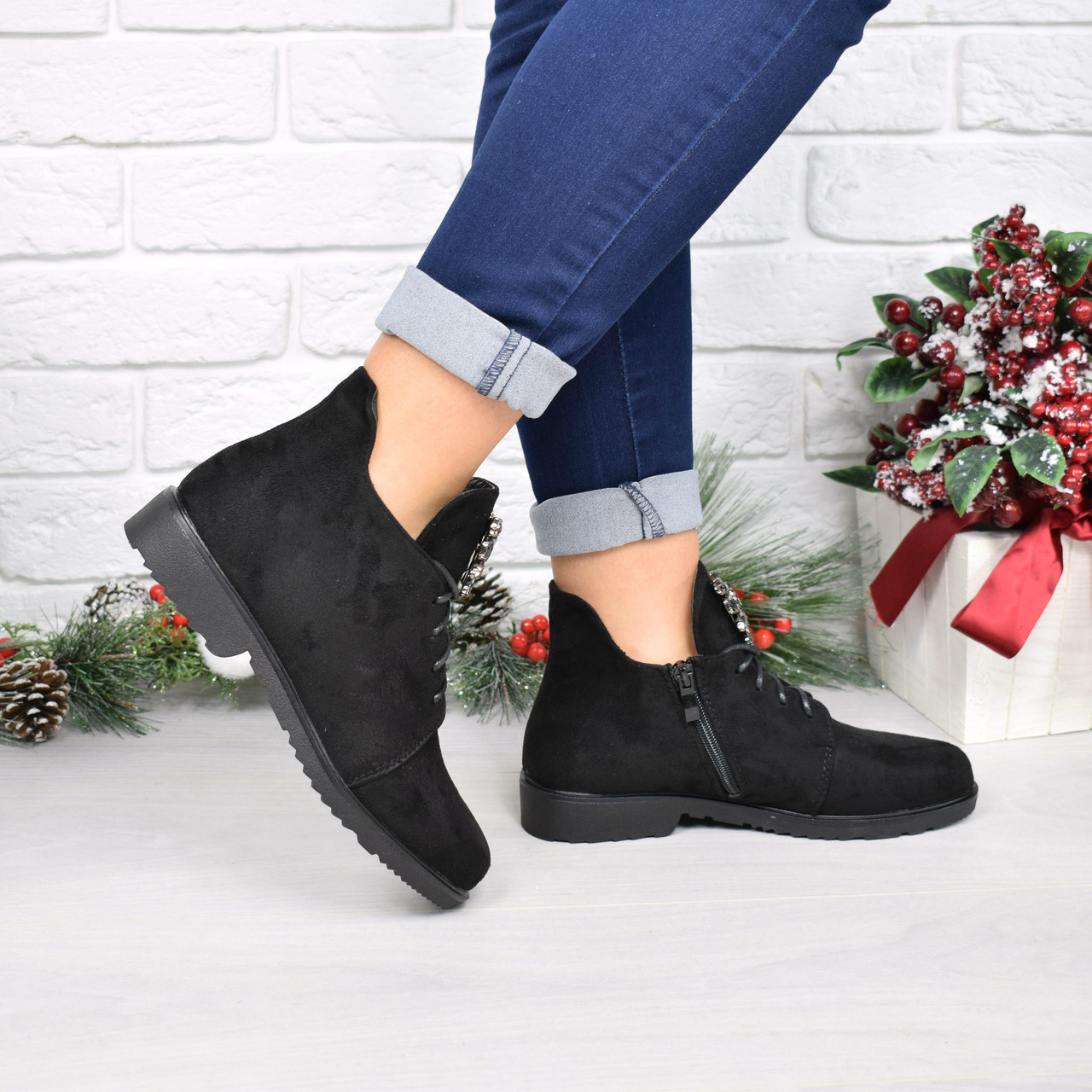 Ботинки женские Esfero черные замша 4015 , ботинки демисезонные - Магазин  модной одежды