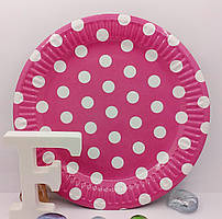 Тарелки детские бумажные Горох розовый 18 см