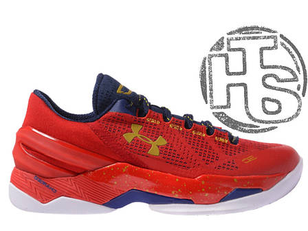 Мужские кроссовки реплика Under Armour Curry 2 Low Gym Red/Navy White, фото 2