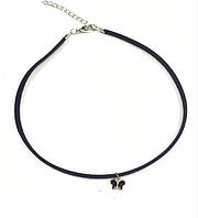 Чокер на шею тонкий тонкий замш с кулоном бабочка /бижутерия/ цвет черный, серебро