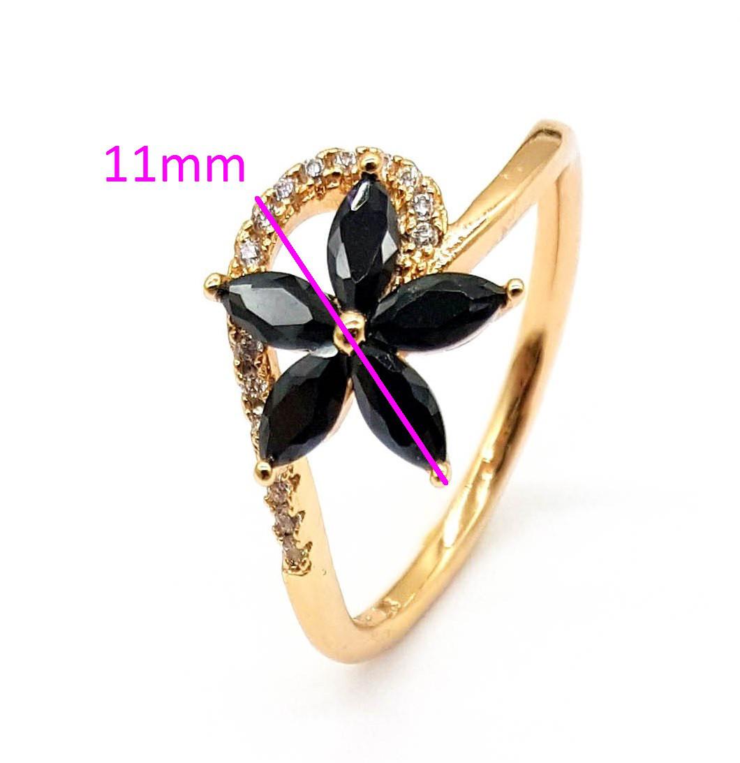 Кольцо месплав 741332, Цветок, черный цирконий, р.17, р.18, р.18,5, позолота