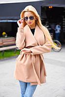 Женское демисезонное укороченное кашемированное пальто прямое под пояс с воротником
