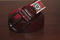 Мужской классический кожаный ремень, цвет бордо