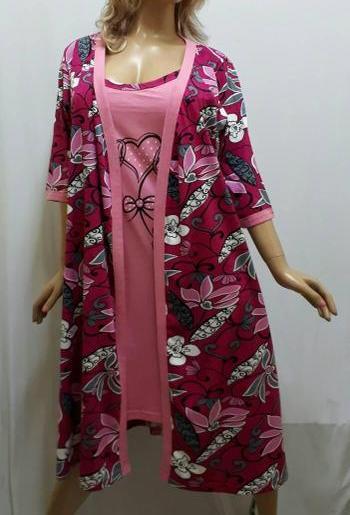"""Комплект женский халат и ночная рубашка на тонкой бретельке, """"Горячее сердце"""", размер от 48 до 54, Харьков"""