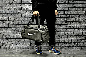 Сумка спортивная, для дороги Nike, найк (серый + белый логотип), Реплика
