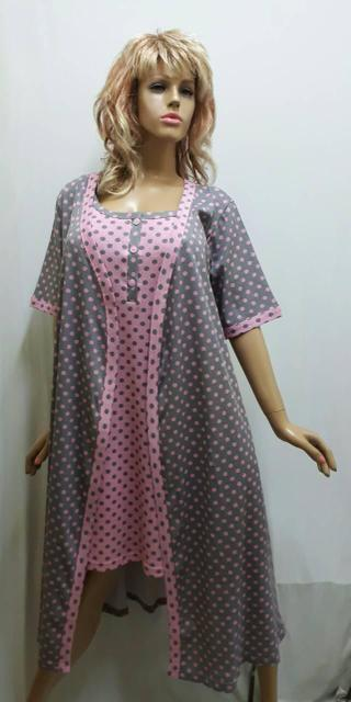 1b98557ee2737 Комплект женский халат на запах под пояс и ночная рубашка на пуговицах и на  бретельках.