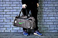 Сумка спортивная, для дороги Nike, найк (коричневый + зеленый логотип)