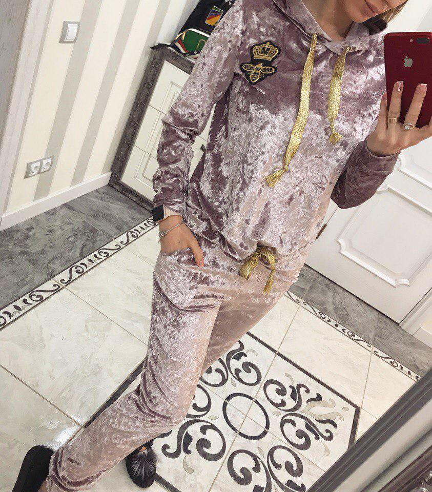Шикарный велюровый костюм Вивьен ( нежно розовый)