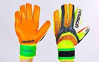 Перчатки вратарские с защитными вставками на пальцы  REUSCH (PVC, р-р 8-10, желтый-оранжевый, фото 1