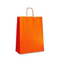 Крафт-пакет 32х13х42,5 оранжевый с витыми ручками