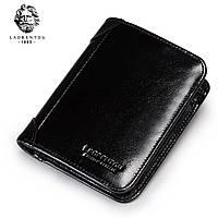 Кожаный кошелек черный 0009