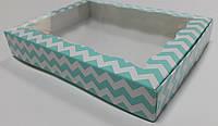 Коробка для пряников 15х20х3 см Зигзаги_мята