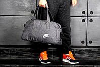 Сумка спортивная, дорожняя Nike, найк (серый), Реплика