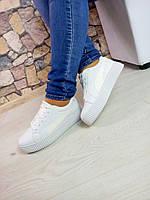 Женские белые кожаные криперы (кроссовки,ботинки) в стиле Puma Rihanna