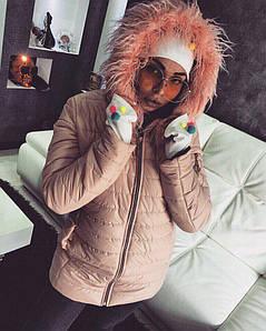 Женская зимняя куртка лаке с опушкой на капюшоне из эко меха ламы, женские зимние куртки оптом
