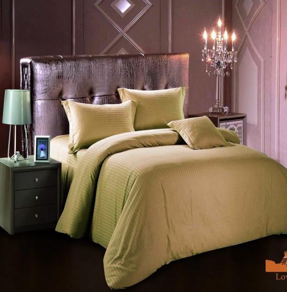 Комплект постельного белья страйп сатин Love you Евро цвет беж, полоса 1 см, подарочная упаковка
