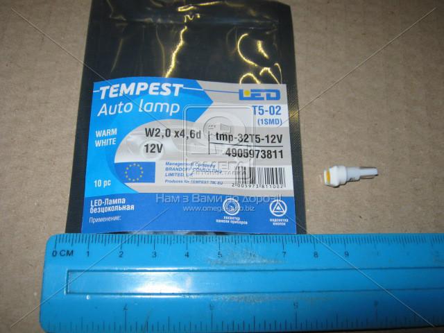 Лампа LED безцокольная панель приборов, подсветки кнопок Т5-02 (1SMD) W2,0 х4,6d тепло белая 12V (Tempest). tmp-32T5-12V