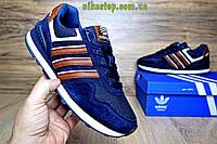 Кроссовки Adidas NEO синие с коричневым