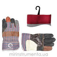 Перчатка комбинированная из кожи и ткани INTERTOOL SP-0004