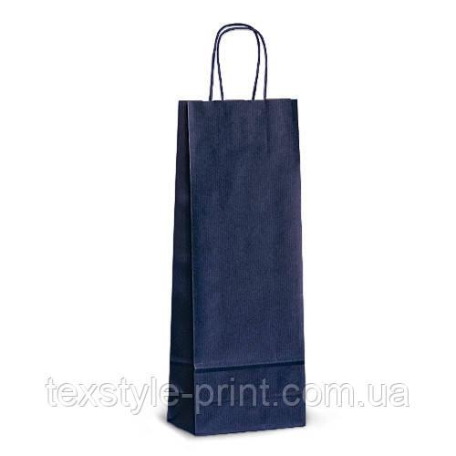 Пакет 15x08x40 синий под бутылку для вина
