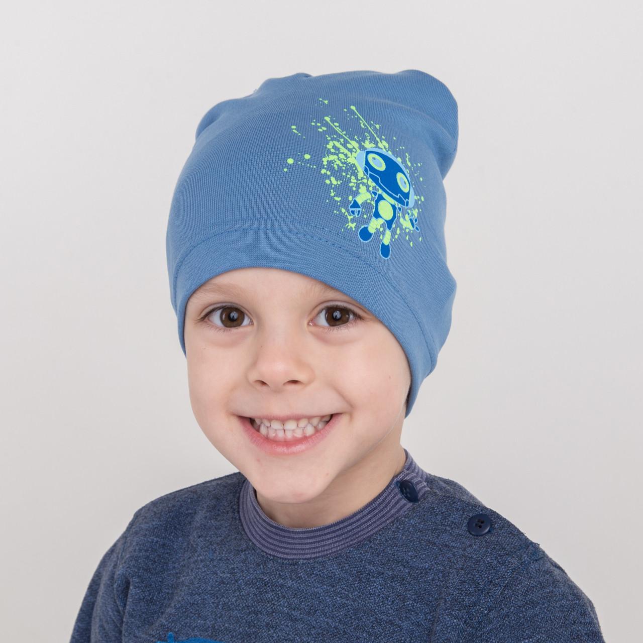 Хлопковая весенняя шапка на мальчика оптом 2018 - Robot  - Артикул 2179