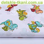 """Лоскут ткани №1130а """"Разноцветные динозаврики"""" на белом фоне , фото 2"""