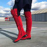 Женские замшевые сапоги красного цвета на низком ходу