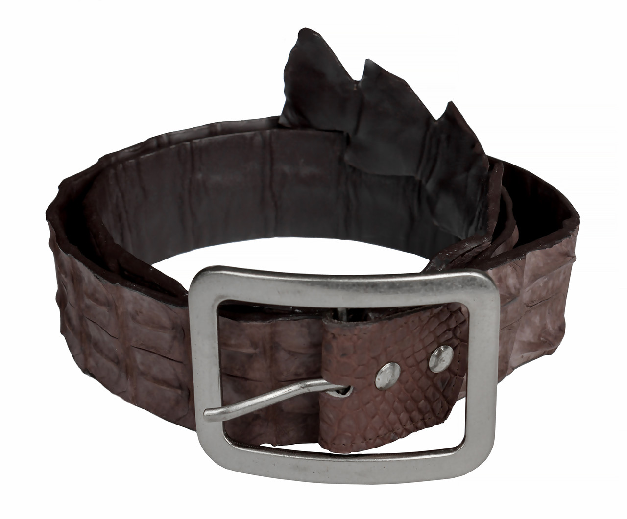Ремінь зі шкіри крокодила джинсовий Ekzotic Leather Коричневий (crb12_1)