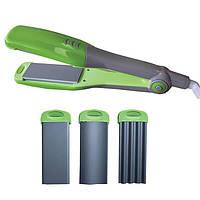 Утюжок выпрямитель-гофре для волос 60 Вт.,3-насадки,индикатор работы