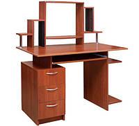Красивый компьютерный стол Пегас с надстройкой. Стол для ПК и ноутбука.