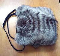 Сумка из натурального меха чернобурки с кожаными ручками 30х25 см, фото 1