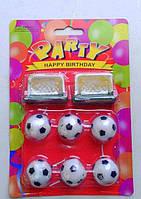 """Набор праздничных свечей для торта  в форме футбольных мячей с воротами """" Футбол"""""""