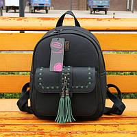 Рюкзак женский матовый с кисточками и карманом (черный с зеленым)