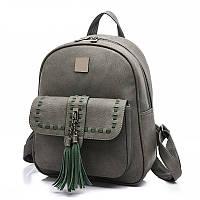 Рюкзак женский матовый с кисточками и карманом (серый с зеленым)