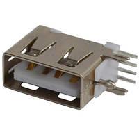 Гнездо USB тип A монтажное, угловое короткое
