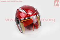 Шлем детский открытый Y-75 - КРАСНЫЙ с серым рисунком для скутера, мопеда, мотоцикла
